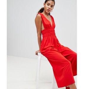 ASOS Design Tall Ruched Waist Plunge Jumpsuit